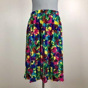 Vintage Multicolor Accordion Pleat Skirt